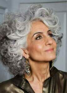 Salt And Pepper Medium Layered Gray Curly Synthetic Hair Capless Wigs