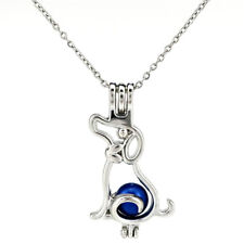 K807 Silver Color Dog Beads Cage Locket Pendant Essential Oil Diffuser