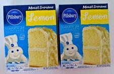 2 Pack  PILLSBURY Moist Supreme Lemon Premium Cake Cupcake Mix 15.25 oz each