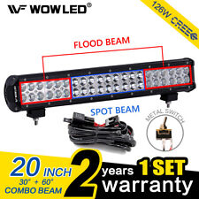 WOW - 20 Inch 126W CREE LED Spot Flood Work Roof Light Bar Offroad + Wiring Kit