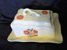VINTAGE GILDED CHEESE / BUTTER DISH PLATE & WEDGE LID ROMANIA FLORAL DESIGN