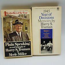 Harry Truman Biography Memoirs Book Lot 2 Plain Speaking Year Decisions 1945