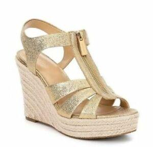 Michael Kors Berkley Zip Wedge Sandal Metallic Gold Leather Women's Size 9.5