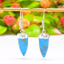 "Beautiful Copper Blue Turquoise Gemstone Jewelry Earring 1.81"" E-391"
