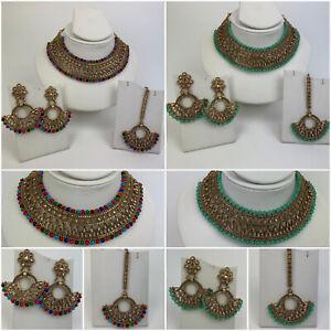 Pakistani Indian Wedding Jewellery Party Wear Necklace Jhumki Earrings Tikka Set