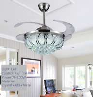 Silver Crystal Ceiling Fan Light Lamp Chandelier LED Lighting Fixture +Remote