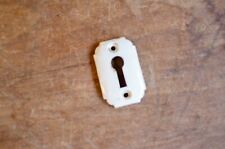 VINTAGE WHITE PORCELAIN KEY HOLE ESCUTCHEON DOOR FURNITURE COVER