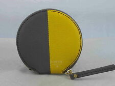 Fossil Lead Gray Yellow Leather SOPHIA Round Zip Coin Mini Wallet SWL1361 554