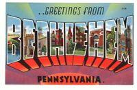 Undated Unused Postcard Greetings from Bethlehem Pennsylvania PA Large Letter