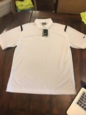 NWT Nike Golf Dri-Fit Polo, 402394 100 Large White With Black Shoulder Stripe