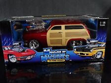 Muscle Machines '50 Ford Woody Wagon Hot Rod 1:18 Scale Diecast 1950 Car Red