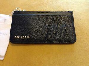 Ted Baker Black Leather Diagonal Card/Coin Holder BNWT