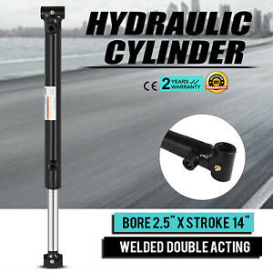 """Hydraulic Cylinder Welded Double Acting 2.5"""" Bore 14"""" Stroke Cross Tube 2.5x14"""