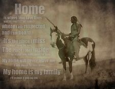 Native American Canvas Art, Poem, Home, rustic wall decor, inspirational, 24x18