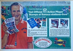 Sunoco ad with NFL Action Player Stamps - Don Shula - 1972 color comic ad page