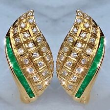 18K Yellow Gold Natural Emerald Diamond Domed Curved Leaf Foliate Earrings