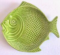 Bordallo Pinheiro Green Figural Fish Embossed Plate Portugal