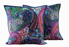 "16X16"" Indian 100%Cotton Paisley Print Square Kantha Cushion Pillow Cover Set-2"