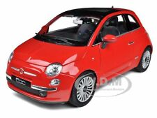 2007 FIAT 500 RED 1/18 DIECAST MODEL CAR BY WELLY 18012