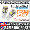 2x XENON PURE WHITE 5 SMD LED SIDELIGHT / LICENSE NUMBER PLATE T10 W5W 501 6000K