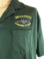 Vtg US Navy Submarine Veterans Polo Shirt Service Golf Sub SS SSN SSBN Green XL