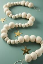 Anthropologie White Felted Garland Balls Christmas Decorations NIP