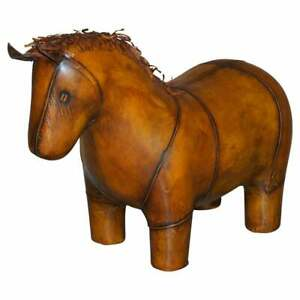1 OF 2 LIBERTYS LONDON OMERSA STYLE BROWN LEATHER HORSE PONY FOOTSTOOLS OTTOMANS