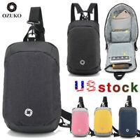 OZUKO Men Chest Pack Backpack Messenger Bag Travel Casual Crossbody Shoulder Bag