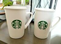 Set of 2 STARBUCKS Coffee 2019 White Green 10 oz Tall Mug Classic Mermaid Siren