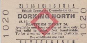 British Railways BTC Red Diamond Platform Ticket DORKING NORTH 1020