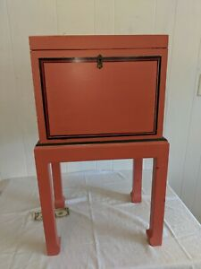 Vintage Wood Lift Top Box on Stand Antique Vtg Made in Italy Painted Salmon Pink