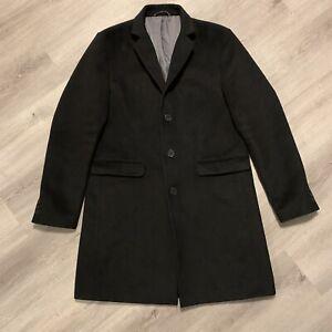 River Island Black Overcoat Coat Jacket. Mens Size Large