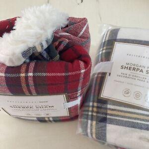 NEW Pottery Barn MORGAN PLAID SHERPASTAND Flannel SHAM (1) ORGANIC Christmas