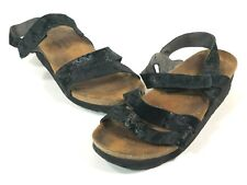 da43e279a013 Naot Womens EUR 38 Black Sparkly Leather Ankle Strap Cork Bed Wedge Sandals