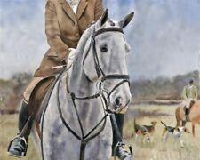 Original Irish Draught Horse Art Painting Dapple Portrait Warmblood Grey Foxhunt