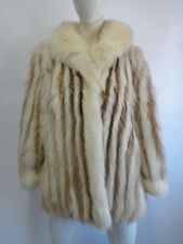 EXCELLENT WHITE FOX & RACCOON FUR COAT JACKET WOMEN WOMAN SZ 4 SMALL NEW LINING!