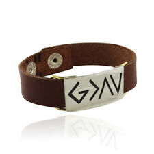 God is Greater Than the Highs and Lows Engraved Bracelet - Leather Band Snap 7""