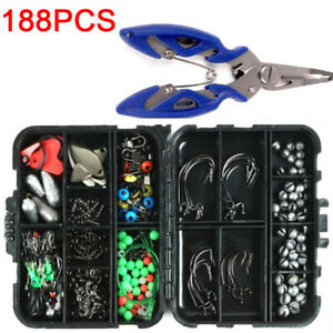 188pcs/set Fishing Tackle Box Kit Sea Set with Multiple Accessories of Jig-Hooks