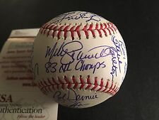 1983 PHILA PHILLIES TEAM AUTO.   OML BASEBALL  W/ 21 SIGNATURES,  JSA CERT