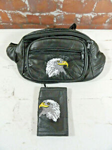 Leather Embroidered EAGLE Waist Fanny Waist cross body Bag W/picture holder~NOS