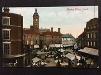 RP Vintage Postcard - Lincolnshire #B19 - Market Place, Louth - Valentines