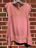 JUDITH MARCH TUNIC TOP PINK ORANGE EMBROIDERED BOHO BLOUSE SIZE SMALL SHIRT
