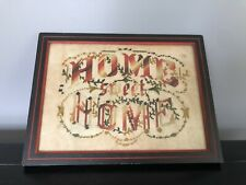 "Antique Victorian Paper Punch Embroidery Wood Frame ""Home Sweet Home� Sampler"
