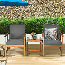 3PCS Outdoor Patio Sofa Furniture Set Solid Wood Cushioned Conversation Set Grey
