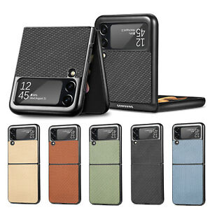 For Samsung Galaxy Z Flip3 5G Case Fiber Pattern Leather PC Hard Back Cover