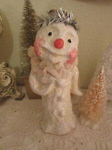 Primitive Folk Art Style Snowman Christmas Figurine Silver Tinsel Trims