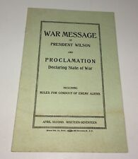 Rare American WWI World War Message President Wilson! Political Pamphlet! 1917