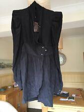 BNWT SUPERTRASH dress Size L large black wrap front 100% silk steampunk goth