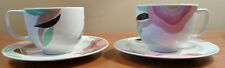 2 vintage art deco floral Adams Micratex FLORIDA cup and saucer sets