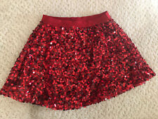 Girls Red Sequin Mini Skirts Size 4-5 Soo Cute For Holidays